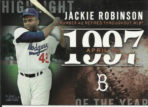 Jackie Robinson Topps Highlights (#H83) - 1997 Highlight - Number 42 Retired Throughout MLB Card (Movie 42) - shipped in an acrylic screwdown holder ()
