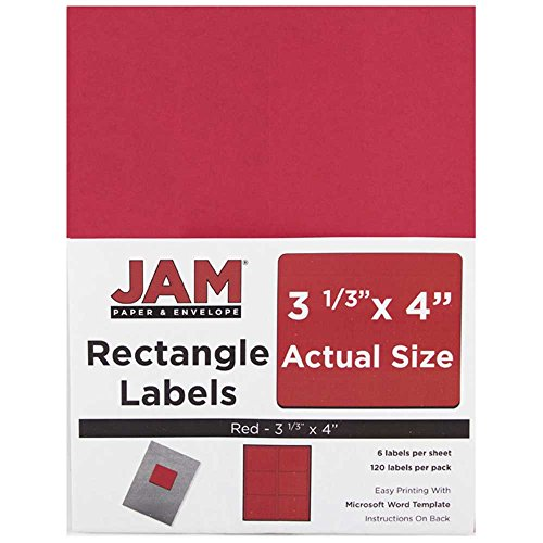 (JAM PAPER Shipping Address Labels - Large - 3 1/3 x 4 - Red - 120/Pack)