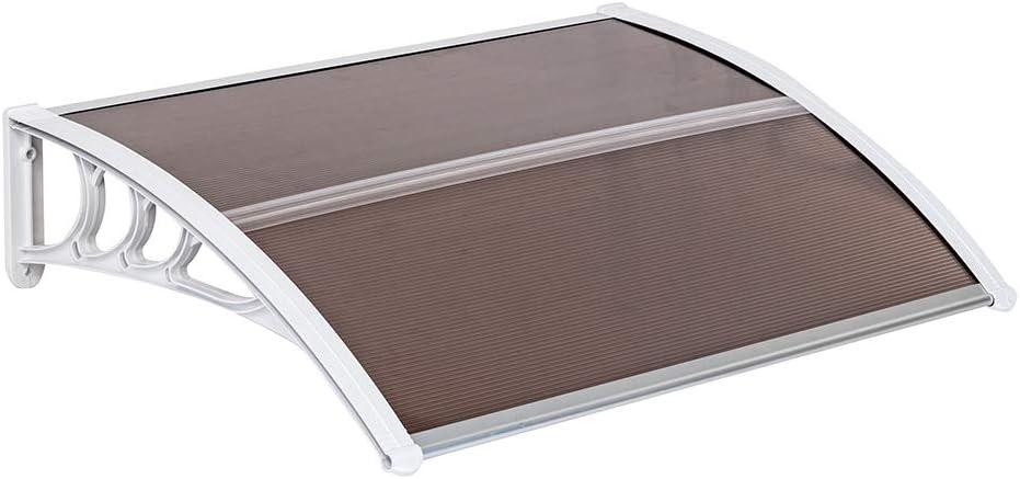 VINGLI Window Awning Door Canopy 40 x 40 Window Awning Overhead Door Modern Polycarbonate Cover Outdoor Front Door Patio Canopy UV Rain Snow Sunlight Protection Hollow Sheet//Brown