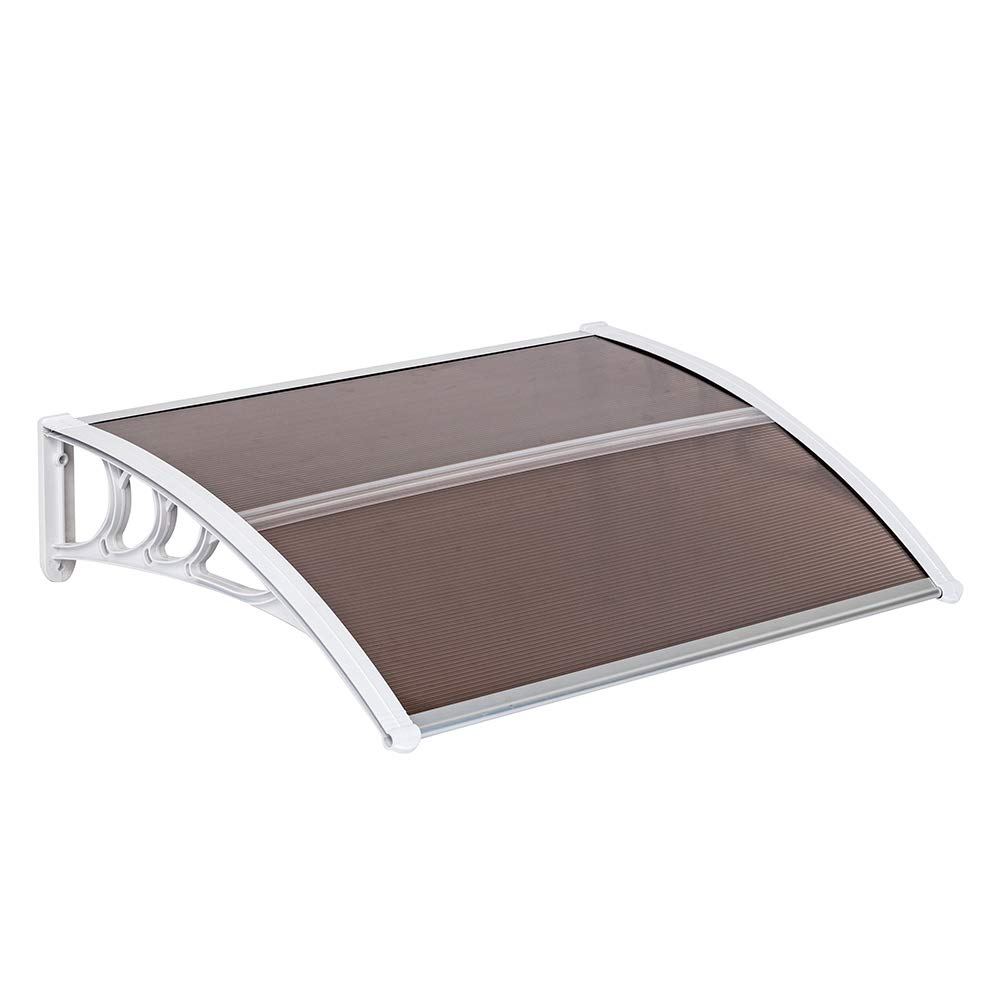 Simply-Me 40'' x 32'' Door Window Awning Polycarbonate Cover Front Door Outdoor Patio Awning Canopy UV Rain Snow Protection Hollow Sheet (Brown & White)
