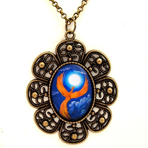 Phoenix Galleries Bird (Phoenix Firebird Necklace Handmade Fantasy Bird Pendant Jewelry Orange Blue Moon Night Stars 24