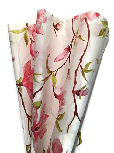 PINK MAGNOLIA Printed Tissue Paper for Gift Wrapping, 24 Large Sheets, 20x30 by Rustic Pearl Collection