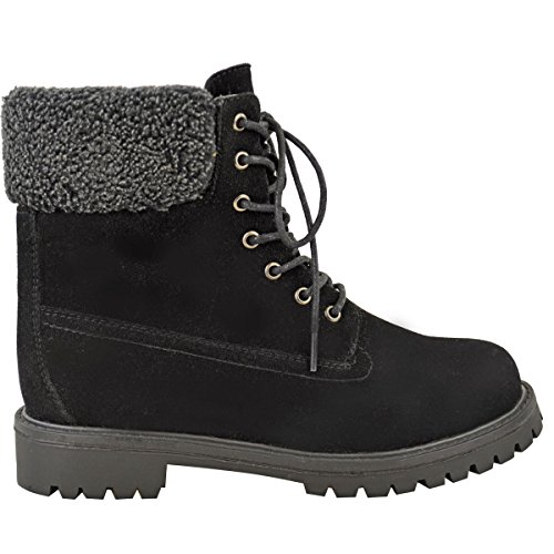 Fashion Thirsty Womens Faux Fur Grip Sole Winter Warm Ankle Boots Sneakers Trainers Shoes Size Black Faux Suede HPRQP6f