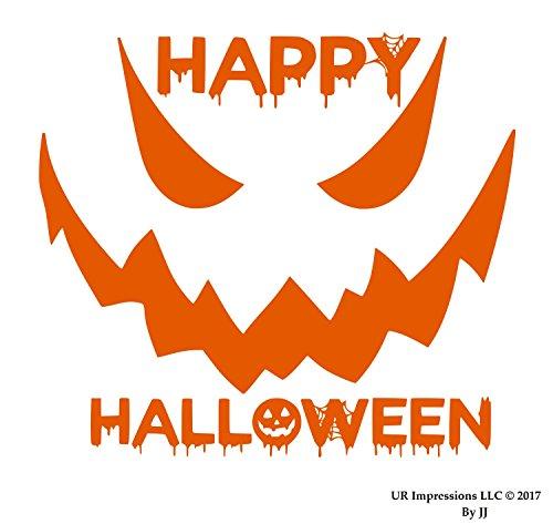 UR Impressions IOrn 10in. Happy Halloween Spooky Face Decal Vinyl Sticker Graphics Cars Trucks SUV Vans Walls Windows Laptop Tablet|Intense Orange|10 X 8.5 Inch|JJURI126 ()