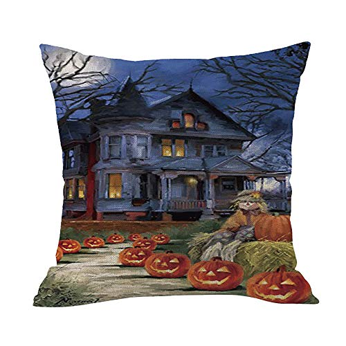 Happy Halloween Pumpkin Ghost Square Throw Pillow Cover Cushion Cover Thanksgiving Home Decoration for Sofa Car (C) -