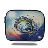 Laptop Sleeve Case,World,Global View of Business World Artistic Display Buildings Air Balloons Planes Highway Decorative,Multicolor,iPad Bag