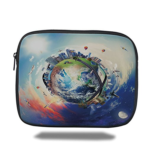 Laptop Sleeve Case,World,Global View of Business World Artistic Display Buildings Air Balloons Planes Highway Decorative,Multicolor,iPad Bag by iPrint