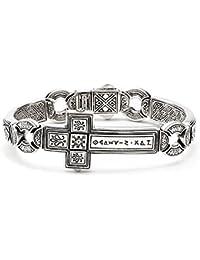 Men's 925 Sterling Silver Horizontal Cross Dare Bracelet