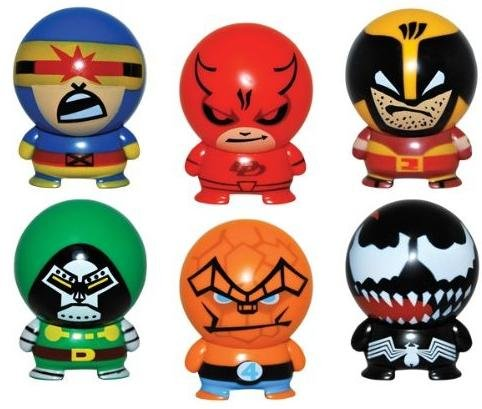 Marvel Buildable - Series 2 - Complete Set of 6 Super Hero Buildables - Vending Machine Toys - Cake Toppers Party Favors - Venom Cyclops Thing Wolverine Daredevil Doctor (Thing Superhero)