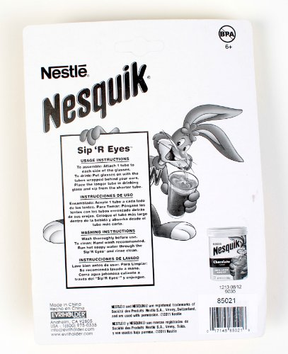 Evriholder Nesquik Sip'R Eyes Drinking Straw Glasses