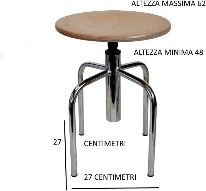INGOMBRO; 27CENTIMETRI per 27 Centimetri uni-form Sgabello Cromato 4 Gambe con Sedile in FAGGIO Regolabile in Altezza con Vite Altezza Minima 48 cm-Altezza Massima 62 cm