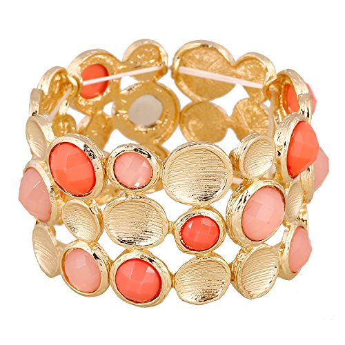 lureme Drawing Personality Gold 3 Rows Round Pink Coral Resin Stone Elastic Stretch Bangle (3 Stone Coral Bracelet)