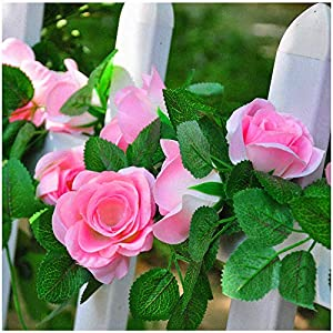 cn-Knight 2pcs 7.4FT Artificial Rose Vine with 16pcs Silk Rose Flowers Green Leaf Hanging Ivy for Home Décor Wedding Hotel Fence Arch Patio Restaurant Party Garden Garland Wreath Prop(Pink) 7