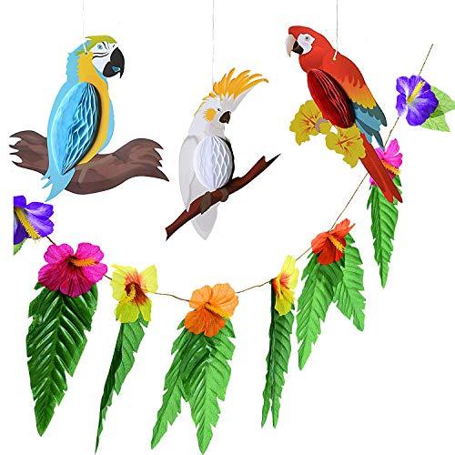 (Paperjazz Paper Parrot Honeycomb Birds & Tropical Flower Garland Bundle | Hanging Decorations for Hawaiian Luau Tiki Beach Wedding Tropical Summer Birthday)