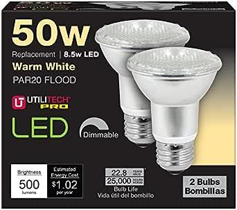 Utilitech 2-Pack 8.5-Watt (50W Equivalent) PAR20 Medium Base 596931 Warm White Dimmable Indoor LED Flood Light Bulbs