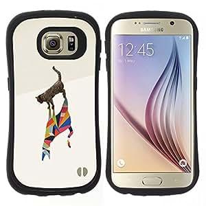 "Pulsar iFace Series Tpu silicona Carcasa Funda Case para Samsung Galaxy S6 , Gato Polígono Arte Artístico Acuarela Negro"""