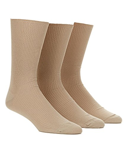 Calvin Klein Men's 3 Pack Non Binding Dress Socks, Sand, 7-1