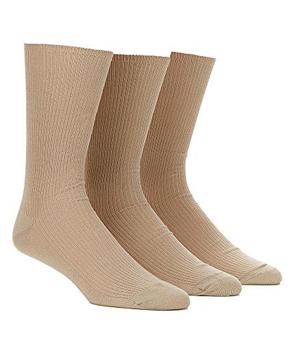 Calvin Klein Men's 3 Pack Non Binding Dress Socks, Sand, 7-1