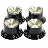 Black with Gold Insert Les Paul Guitar Style Top Hat Push-On Knobs, Pkg. of 4