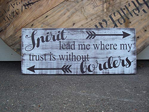 (Iliogine Vintage Wood Sign Spirit Lead Me Where My Trust is Without Borders Christian Song Lyrics Inspirational Farmhouse Style Word Art Home Decor Wall Plaque Home Sign Gift )