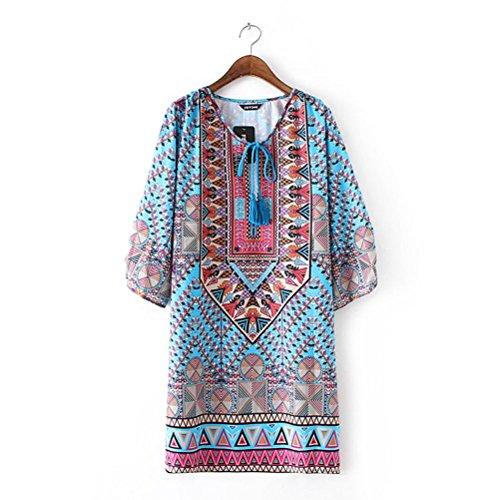 Imprim Formelle Dcalage Femmes Robe Filles Ethnique Bohme Femmes Robe Bleu Mode Robe Jupe Cravate Dames Jupes D't Fte Style De Yanhoo FeiTong D't Vintage XYq1xXda