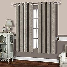 "BEST DREAMCITY Room Darkening Faux Linen Curtains For Bedroom (Beige,52"" W X 63"" L,Set of 2)"
