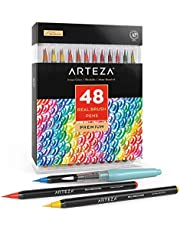 Arteza Real Brush Pens, 48 Colors for Watercolor Painting with Flexible Nylon Brush Tips, Paint Markers for Coloring, Calligraphy, Drawing with Water Brush, Art Supplies for Artists and Beginners photo