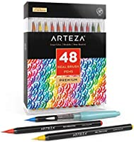 Arteza Real Brush Pens, 48 Colors for Watercolor Painting with Flexible Nylon Brush Tips, Paint Markers for Coloring,...