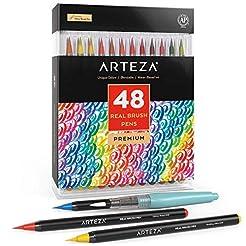Arteza Real Brush Pens, 48 Colors for Wa...