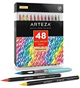 Arteza Real Brush Pens, 48 Colors for Watercolor Painting with Flexible Nylon Brush Tips, Paint M...