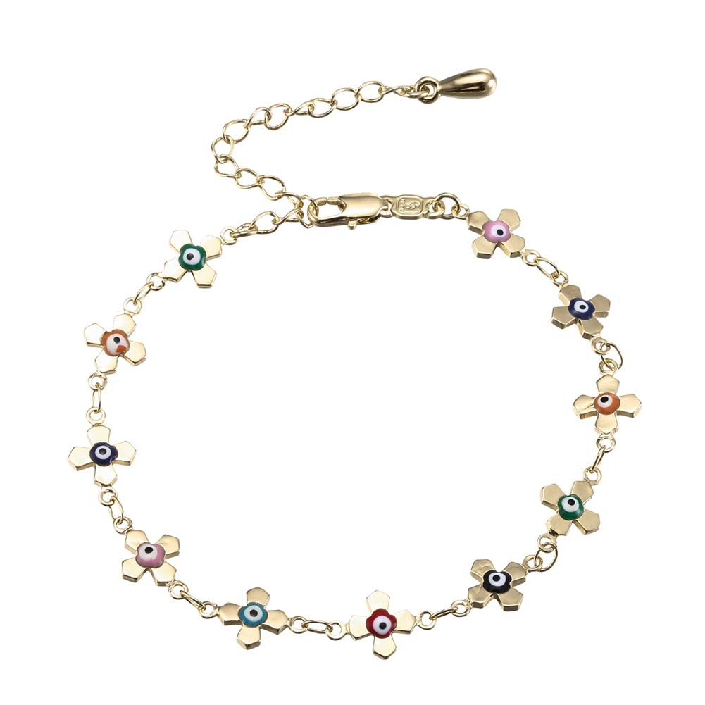Lanyan Multi-Colored Yellow Blue Red Green Pink Evil Eye Anklet, 8'+ 2' Extender 8+ 2 Extender