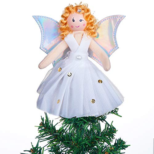 MACTING Mini Angel Christmas Tree Topper, White 7-Inch Light Angel Treetop with Silver Wings for Christmas Decorations Xmas Tree Ornament