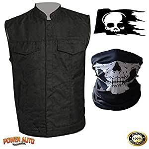 Men's Sons Of Anarchy Black Textile SOA Motorcycle Biker Vest Inside Gun Pockets - Zipper & Snap Front Closure - Single Panel Back For Club Patch/Patches PLUS Skull Decal & Skeleton Face Mask (3X)