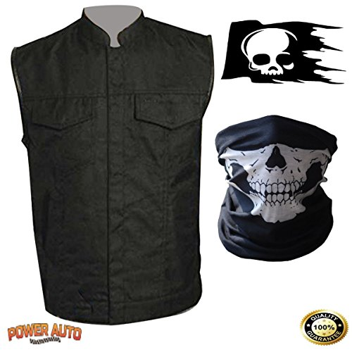 Men's Sons of Anarchy Black SOA Motorcycle Biker Vest with Decal and Face Mask (2X)]()