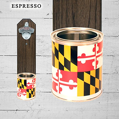 Wall Mounted Bottle Opener with Maryland Flag Tin Can Cap Ca