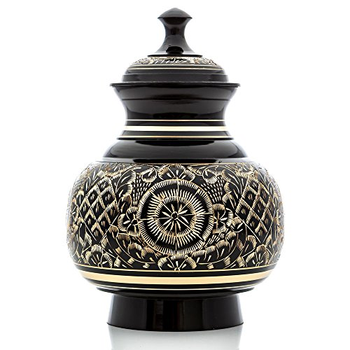 Medium Ebony Color with Brass Engraving, Engraved Series Pet Urn and Memorial - For Dogs, Cats and other pets. Accomodates Pets up to 40 Pounds