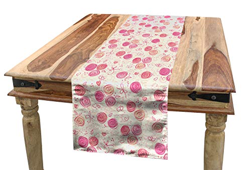 (Lunarable Blush Table Runner, Watercolor Doodle Style Rosebuds Hearts and Dots in Romantic Valentines Day Pattern, Dining Room Kitchen Rectangular Runner, 16 W X 72 L Inches, Multicolor )