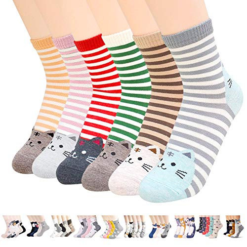 Womens Casual Socks - Cute Crazy Lovely Animal Cats Dogs Pattern Good for Gift One Size Fits All (Striped Animal Heel)