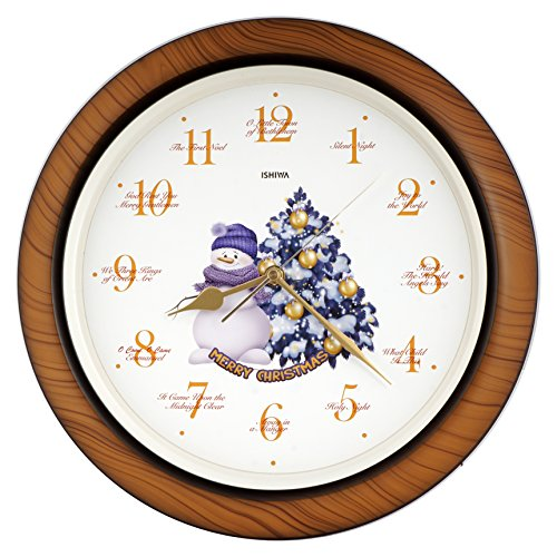 JUSTIME Splendid Collection 14-inch 12 Song of Carols of Christmas Gorgeous Purple Snowman & X'mas Tree Wall Clock Mantel Clock Home Deco, Gift box (ST Wood Grain) by JUSTIME