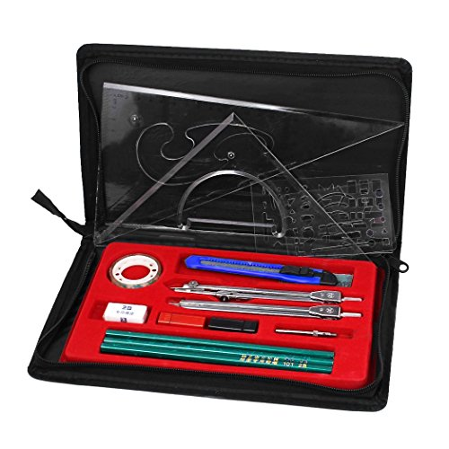(Clobeau Hight Quality Study 16-piece Compass and Geometry Kit Drawing Drafting Tools Set for Students with A Zipper Bag)