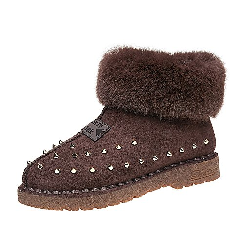 Brown US7.5   EU38   UK5.5   CN38 Brown US7.5   EU38   UK5.5   CN38 HSXZ Women's shoes PU Winter Snow Boots Boots Flat Round Toe Rivet for Casual Black Brown Khaki