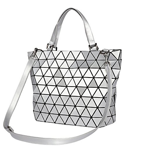 Diamond Geometry Luminous Tote Matte Mirror Laser Women Blue Matte Plaid Matte Shoulder Saser Bags Sequins Blue Casual Handbag Folding Bag Bucket Bag qPOEccA