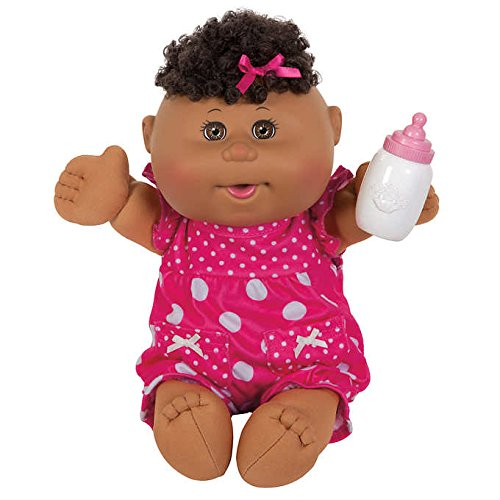 Cabbage Patch 12.5'' Naptime Baby, Comes with an Adorable Pink Polkadot Outfit, Baby Accessory and Play Birth Certificate and Adoption Paper, Brown Eyes, Curly Locks