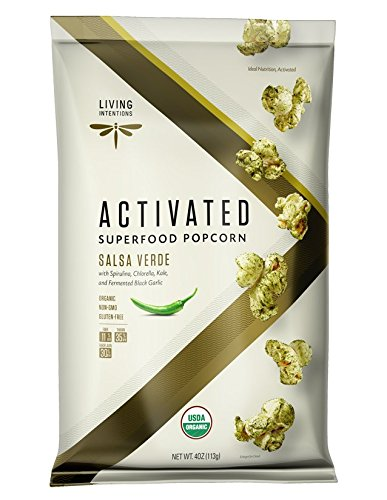 Living Intentions Activated Superfood Popcorn, Gluten Free, Vegan, Organic, Salsa Verde, 4 Ounce