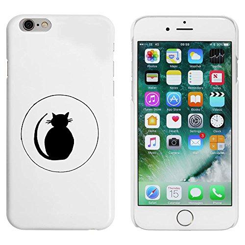 Weiß 'Katze Silhouette im Kreis' Hülle für iPhone 6 u. 6s (MC00030466)
