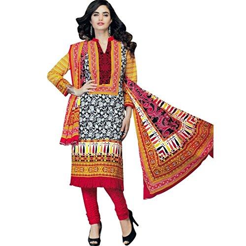 Designer Printed Cotton Salwar Kameez Ready To Wear Indian Dress Suit