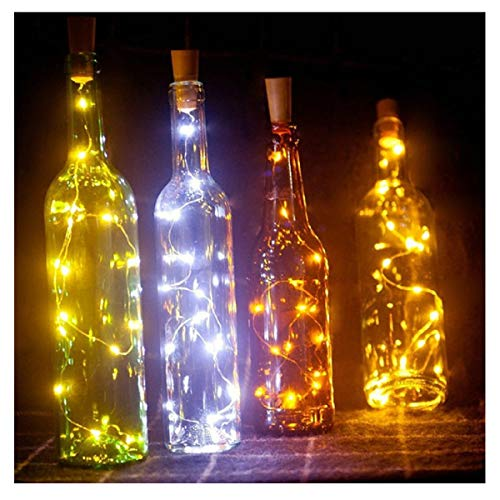 PCEPEIVK 6.5ft 20 LED Wine Bottle Lights Cork Battery Powered Garland DIY Christmas String Lights for Party Halloween Wedding Decoracion