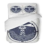 SanChic Duvet Cover Set Lighthouse on Cliff in Stormy Weather Tattoo Rose Compass Symbol Meditation Hiking Adventures Decorative Bedding Set Pillow Sham Twin Size