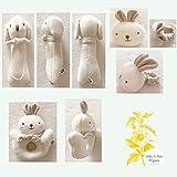 (Puppy & Baby Rabbit Rattle Set)100% Organic Cotton(No Dyeing Natural Organic Cotton)