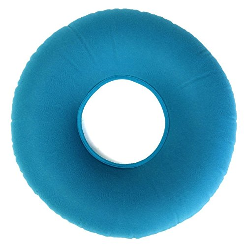 Genmine Inflatable Ring Cushion With A Pump, Medical Hemorrhoid Seat Pillow, Round Rubber Seat Cushion, Coccyx & Tailbone Pain Great for Wheelchairs- Use in the Home, Car or Office (Blue) - Mouth Round Ring